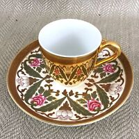 Antique Teacup and Saucer Royal Worcester Gold Luster Reflective Mirror Duo