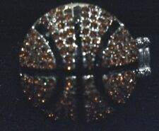 New Large Basketball Brown Bling Rhinstone Stretch Ring 1 1/4 inch