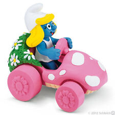 *NEW* SCHLEICH 40265 Super Smurfs Smurf SMURFETTE IN PINK CAR - RETIRED