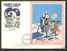 St. LUCIA # 500 DISNEY Moonwalk 10th Anniversary FDC