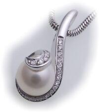 colgante Brillante 0,12ct Auténtico Oro Blanco 585 Perle 8mm GOLD 585er- diamant