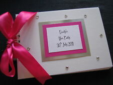 HEN NIGHT/PARTY GUEST BOOK/PHOTO ALBUM FUSCHIA HOT PINK 20 pg personalised