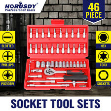 "46PCS Smart Socket Wrench Set CRV 1/4"" Drive Metric Flexiable Extension Bar"