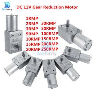 1-250RPM Reduction Motor Metal Gear High Torque Turbine Turbo Worm Geared 12V DC