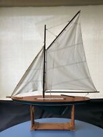 """Vintage Wood Model Sailboat W/ Cutter Rigging& Custom Stand 33"""" Keel to Top Sail"""