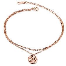 Women Handmade Dainty Flower Charm Bracelet Anklet Lucky Foot Chain Adjustable
