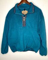 Vintage Woolrich Mens Zip Blue Fleece Pullover Jacket USA Made Size XL Aztec