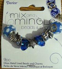 DARICE MIX AND MINGLE BEADS & CHARMS - SHELLS - GLASS METAL LINED BEADS & CHARMS
