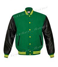 Genuine Leather Sleeve Letterman College Varsity Women Wool Jackets #BSL-YSTR-YB
