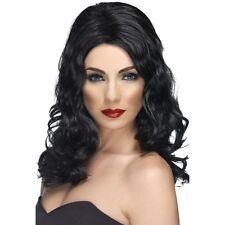 Womens 50s 60s 70s Black Glamorous Wig Long Wavy Fashion Pin Model Fancy Dress