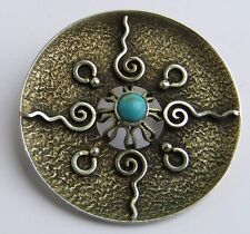 Vintage Norway Silver 835 H Turquoise Pin Brooch