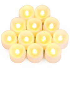 12 PLASTIC  led candles/ tealights battery operated flame-free- any occasion