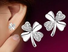 Wholesale 925 Silver Luck Clover Crystal Stud Earrings Women Fashion Jewelry