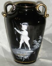 ANTIQUE JACKFIELD VASE W/MARY GREGORY PAINTING/GLDG