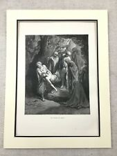 1870 Antique Jesus Print The Burial of Christ Tomb Old Religious Picture Art