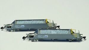FR Z-scale 2 Swiss ballast cars class Xas73 BLS Made in Metal Freudenreich, ltd