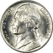 1943 P Jefferson Wartime Nickel BU Uncirculated Mint State 35% Silver 5c US Coin