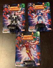 3 Miniature Alliance Figures Iron Man, Capt America, Venom S1