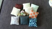 DOLLS HOUSE MINIATURE, job lot of  10 scatter cushions, mixed colours, (j3)