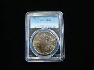 1881-S Morgan Silver Dollar PCGS Graded MS66 Gorgeous Rainbow Toning