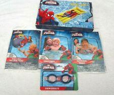 "Unisex Spider-man Beach Ball,Arm Floats,20"" Swim Ring,48"" Swim Raft,Goggles-New!"