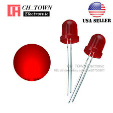 50pcs LED 8mm Red Color Red Light Diffused Round Top Light Emitting Diodes USA
