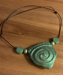 Green Spiral necklace, handmade, polymer clay