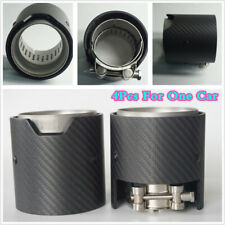 4X 66 IN 93MM OUT Matte 100% Real Carbon Fiber Exhaust tip For BMW M-Performance