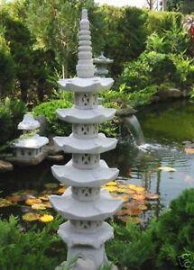 japanische Steinlaterne Pagode 5 stöckig  Gartenteich Dekodekoration Wetterfest