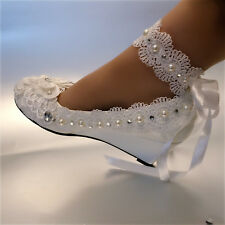 White ivory wedge pearls lace ribbon anklet Wedding shoes Bridal high heels size