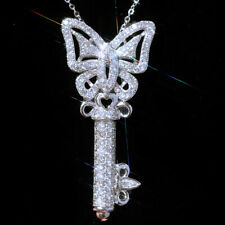 Gorgeous 925 Silver Necklace Pendant Women White Sapphire Jewlery Gift