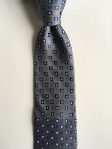 "tommy hilfiger tie gray blue silver squares L 58"" W 3.25"" silk necktie pa1100"