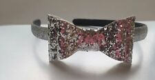 Double bow Sparkling glittering Headband Girls' Alice band (Silver)