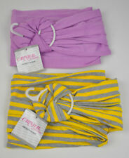 New 2 Infiinity SCARF Scarves CLOTH Poly/Spandex PURPLE Yellow/Gray STRIPES Nwt