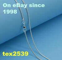 """925 stamped Sterling Silver Plated Snake anti-tarnish Rhodium 1.2mm 16"""" to  30"""""""