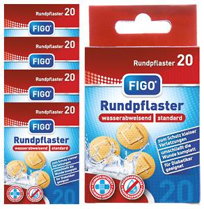 100 Pflaster rund Wund Pflaster runde Form Rundpflaster MHD 12 - 2023 Figo