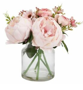 Artificial Blush Pink Peony Flower In Cleat Glass  Jar Vase 24cm Tall