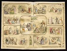 Rare 1853ca - Les cinq sens - Planche encyclopédique, scolaire, affiche