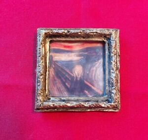 "Dollhouse Miniature Handcrafted Gilded Framed Painting 1:12 Scale ""The Scream"""