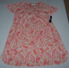 """NWT Aria White/Pink/Peach Floral PAISLEY 34"""" COTTON Nightgown L Gown POCKETS"""