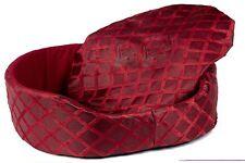 Luxury Round Dog Cat Pet Bed Basket Cushion Mat Soft Fleece Washable Red Large