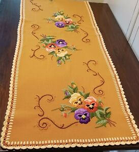 Vintage Hand Embroidered Pansy Table Runner Dresser Scarf 19x57