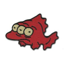 """Simpsons Three Eyed Fish 3.5"""" Logo Sew Ironed On Badge Embroidery Applique Patch"""