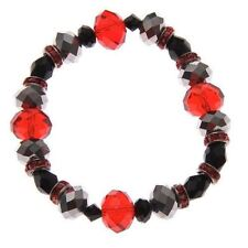Swarovski Elements Crystal Multi Faceted Stones Bracelet Silver Black Ruby Red