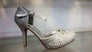 Women's Ladies Fashion Glitter Diamantie Heel Court Shoes Sandal