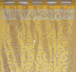 "Vegas Gold Curtain Panel Zardozi Embroidered Beaded India Window Treatments 92"""