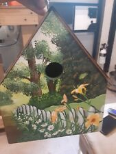 Vintage Polly's Perch Hand Painted Birdhouse  Signed  Copper Roof  vintage