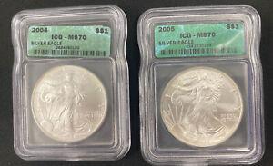 2004 & 2005 American Silver Eagle 1 Oz Coin ICG MS 70 Green Label -  2 Coin Set