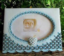 GUEST BOOK, WHITE TURQUOISE PHOTO FRAME WITH PEN
