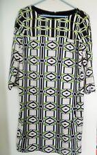 Jones New York Women's 3/4  Sleeve Dress Tan Green Black Size 12